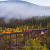 An Eastbound oil train crosses the trestle at Goat Lick in Essex, Montana along the former Great Northern Railway. The bridge is sometimes referred to as Sheep Lick Trestle by the railroad. The area below is known for a spot that mountain goats frequent during the springtime to lick the natural salt off the rocks, 9-25-19.