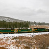 The New Hampshire Northcoast Southbound turn is seen passing Jones Forest in Milton with 23 loads for Boston Sand & Gravel, 12-30-19.