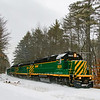 """The New Hampshire Northcoast Southbound D8 is seen passing Browns Ridge Road in Ossipee just South of """"The Pits"""" 12-30-19."""