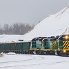 The New Hampshire Northcoast Southbound D8 is seen parked at Ossipee Aggregates in Ossipee loading 23 cars for Boston Sand & Gravel, 12-30-19.