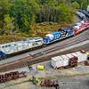 The CSX Hononoring Veterans, Honoring Law Enforcement and Honoring First Responders locomotives sit at the SMS yard in Swedesboro, NJ in preparation for an event the next day, 10-4-19.