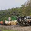 NS intermodal train 20T heads East at Lilly, 5-14-18.