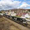 NS Train 23J heads through the Township of Lilly on a windy Spring Day, 4-4-17.