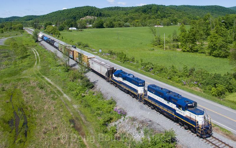 Nittany and Bald Eagle Train 01 races through Port Matilda, 5-24-19.