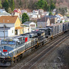 The Monongahela heritage unit leads Eastbound train 62V at Lilly as the sun sets on the West Slope; 4-5-17.