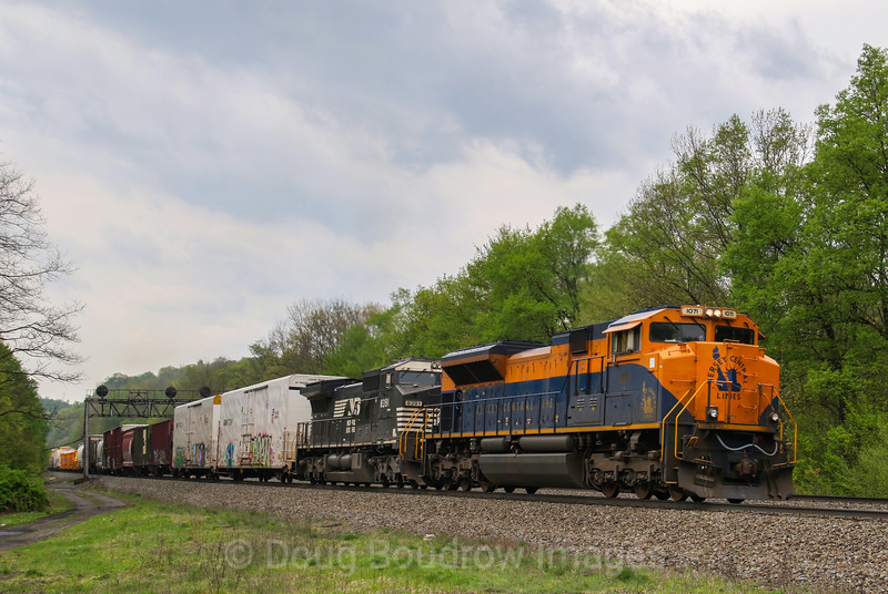 NS mixed freight train 12G heads East up the West Slope of the Allegany Mountains with the Jersey Central heritage unit leading at Lilly, 5-14-18.