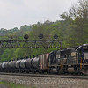 NS ethanol train 64T heads East at Lilly, 5-14-18.