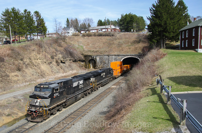 NS Train 23Z heads West out of the portal in Gallitzin. The tunnel which contains tracks 2 and 3 were opened in 1904 for the Pennsylvania Railroad, 4-5-17.