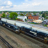 Westbound and Eastbound meet at Cresson while another train holds on track 1, 5-10-18.