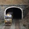 Westbound intermodal train 23M at the Allegheny Tunnel in Gallitzin, 4-5-17.