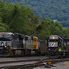 Local job C42 is seen switching as loaded coal train 590 passes them in Lewistown, 8-31-20.