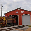 The Juniata Valley Railroad is seen preparing to start theit workday about to leave their engine-house in Lewistown, PA, 8-31-20.