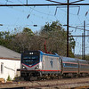 A Westbound Amtrak train cruises along the Keystone Corridor in Paradise, PA, 10-14-19.