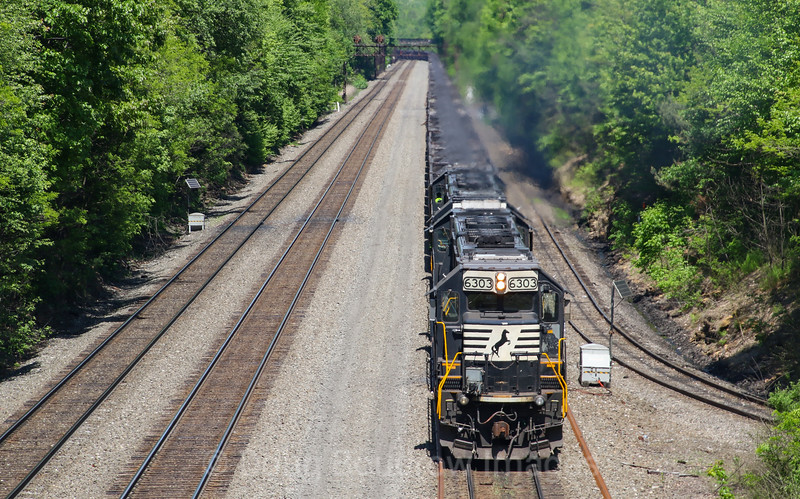 A helper set shoves an Eastbound coal drag up the West Slope passing under the Jamestown Road Bridge in Portage, 5-24-19.