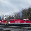 RJ Corman Railroad Company brings a cut of grain cars into the Wye at Cresson, 4-4-17.