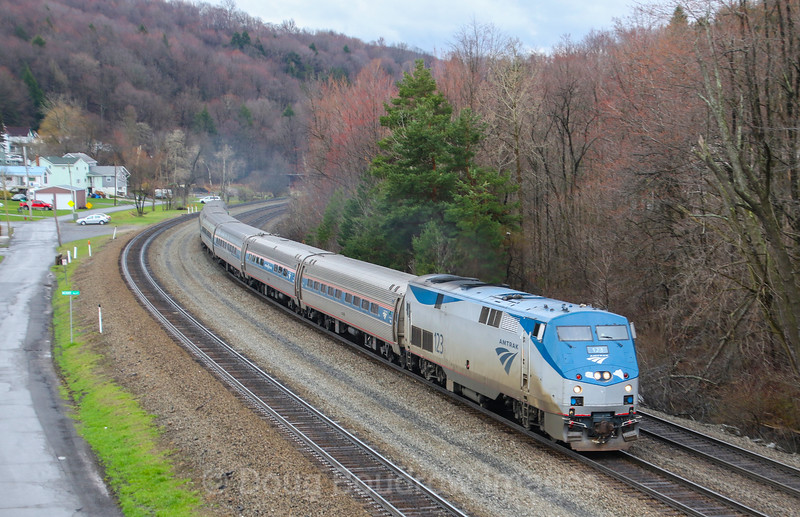 "Amtrak's ""The Pennsylvanian"" heads East through Lilly, 4-4-17."