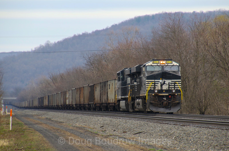 NS empty coal train 591 pauses at Barree waiting for a clear signal, 4-5-19.
