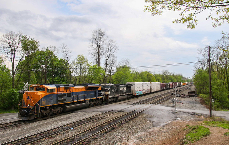 "NS mixed freight train 12G heads East into Altoona at ""the Brickyard""  with the Jersey Central heritage unit leading at Cresson, 5-14-18."