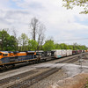 """NS mixed freight train 12G heads East into Altoona at """"the Brickyard""""  with the Jersey Central heritage unit leading at Cresson, 5-14-18."""