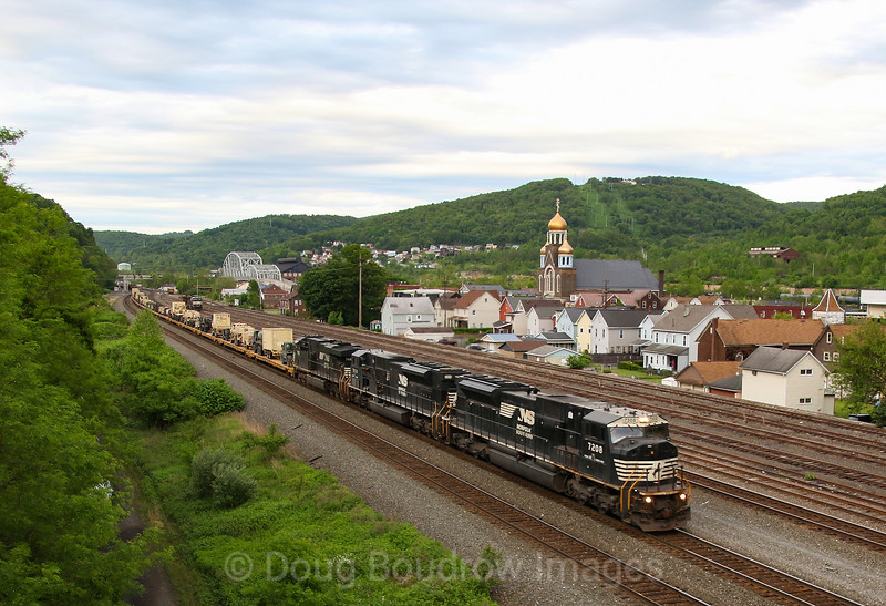 NS Train 35A wjth military equiipment on the front of the consist rolls through Johnstown, 5-24-19.