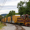 The Juniata Valley Railroad is seen switching out cars along Industrial Park Road, 8-31-20.