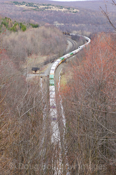"an Eastbound intermodal climbs ""The Slide"" toward the Horseshoe Curve. Image is taken from Gallitzin. The power can be seen way in the distance, 4-5-17."