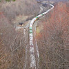 """an Eastbound intermodal climbs """"The Slide"""" toward the Horseshoe Curve. Image is taken from Gallitzin. The power can be seen way in the distance, 4-5-17."""