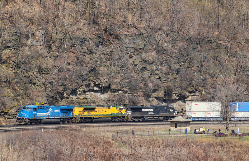 Norfolk Southern priority intermodal train 25V rounds Horseshoe Curve with the Conrail heritage unit leading the Reading heritage unit, 4-6-19.