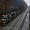 Six former Conrail SD80MACs (three on each end) power loaded coal train C47 out of Portage through Cassandra Cut, 4-5-19.