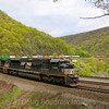 A Westbound NS intermodal train passes through the famous Horseshoe Curve, 5-11-18.