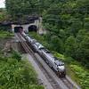 Delaware Lackawanna job PO-75 is seen coming out of Nay Aug Tunnel into the Gorge with the same name. The scene is shot from an overlook along a walking trail, 8-29-20.