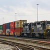 A pair of remote-controlled GP38-2s switch out intermodal cars at Seven Mile Yard in North Charleston, 3-1-19.