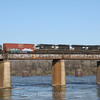 Mixed freight crosses the Tennessee River in Chattanooga, 3-14-18.