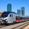 A Texrail train is seen at Union Station in Fort Worth. Texrail utilizes a fleet of Swiss-made Stadler FLIRTs (Fast Light Intercity and Regional Train) 3-6-21.
