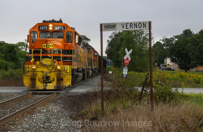 New England Central Train 611 makes switching moves at Vernon to set off cars for a local power plant, 8-22-19.