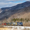 Since a recent collapse has closed the Hoosac Tunnel for an indefinite amount of time, Pan Am and Pan Am Southern are detouring their manifest trains over Vermont Rail Systems trackage. On February 17th train 11R is seen passing through Dorset, 2-17-20.