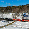 Since a recent collapse has closed the Hoosac Tunnel for an indefinite amount of time, Pan Am and Pan Am Southern are detouring their manifest trains over Vermont Rail Systems trackage. On February 17th train 11R is seen passing farms in Chester with Vermont Rail Systems power leading, 2-17-20.
