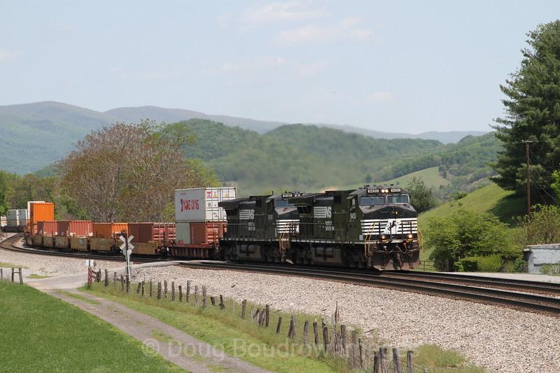 Westbound intermodal train at John Farm in Shawsville on 5-7-16.