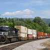 Eastbound intermodal train 23G (Louisville, KY to Norfolk, VA) takes on the Christiansburg grade with a lone DPU pushing the rear of the train, 5-26-17