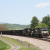 Westbound empty coal drags pass John Farm in Shawsville, 5-7-16.