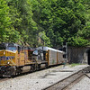 Norfolk Southern Train 27V (Walkerville, NC to Shelbyville, KY) with a UP leader heads West through Montgomery Tunnel in Christiansburg, 5-26-17.