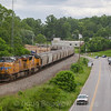 Manned pushers on a Southbound grainer using UP power as the train passes Ferrum, 5-25-17.