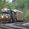 An auto rack train climbs the grade at CP Blue Ridge, 5-8-16.