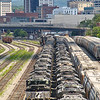 A sign of the times, dozens of locomotives are sitting in Roanoke yard sidelined. Between the implementation of precision scheduled railroading and the decrease in traffic from COVID 19, the amount of trains being operated has decreased, 7-4-20.