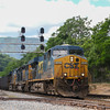 CSX power leads Eastbound train 194 (Bellevue, OH to Linwood, NC) through Singer, 5-26-17.