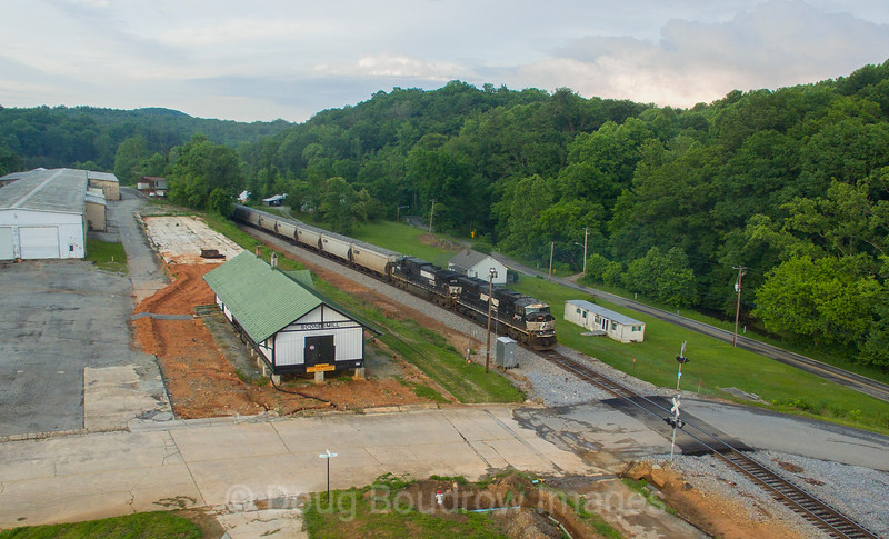 Southbound grain train 52Z passes Boones Mill at Dusk. Seen here are the manned pushers on the rear of the train, 5-30-17.