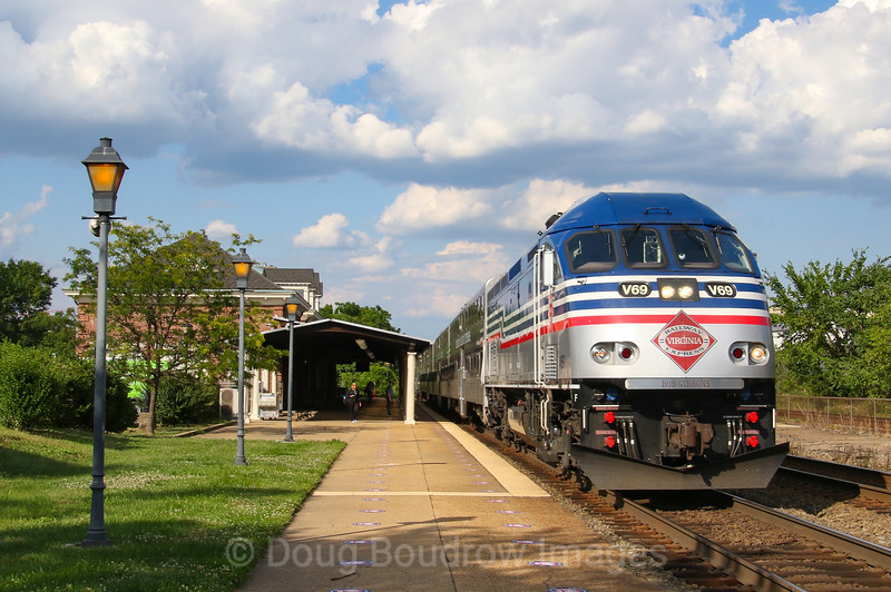 A Manassas bound Virginia Rail Express train is seen departing Alexandria Station on a hot summer afternoon, 6-30-20.