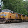 The manned pushers on a Southbound loaded grainer at Wirtz using UP power; 5-25-17.