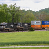 An Eastbound double stack passes through Shawsville, 5-6-16.
