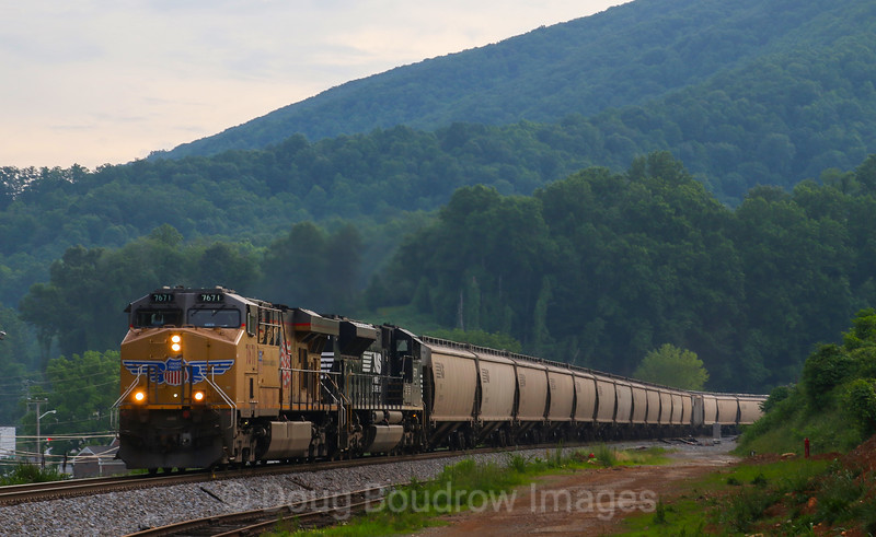 Southbound grain train 52Z passes Boones Mill at Dusk, 5-30-17.